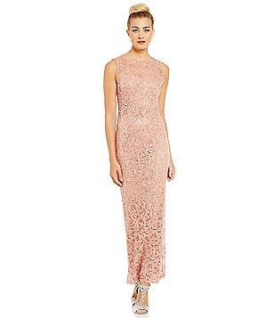 Marina Sleeveless Sequin Lace Column Gown