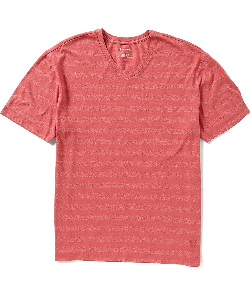 Cremieux Short-Sleeve Horizontal Stripe Jersey V-Neck Tee
