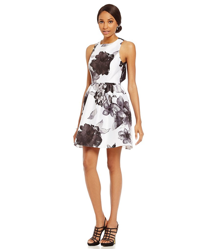 Adrianna Papell Printed Cross Back Sleeveless Party Dress