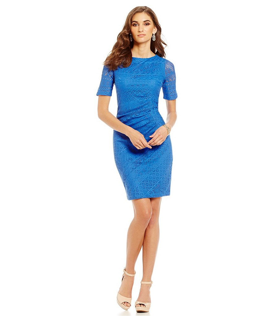 London Times Ruched Side Lace Sheath Dress