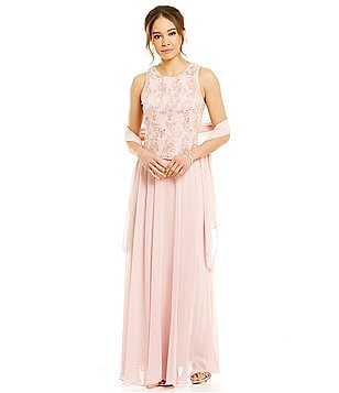 Alex Evenings Mock Petite Embroidered Lace A-Line Gown