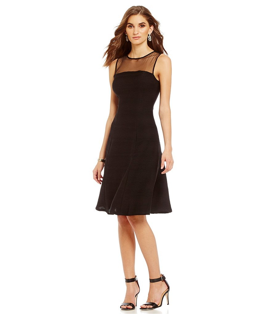 London Times Pintuck Jersey Fit-and-Flare Dress