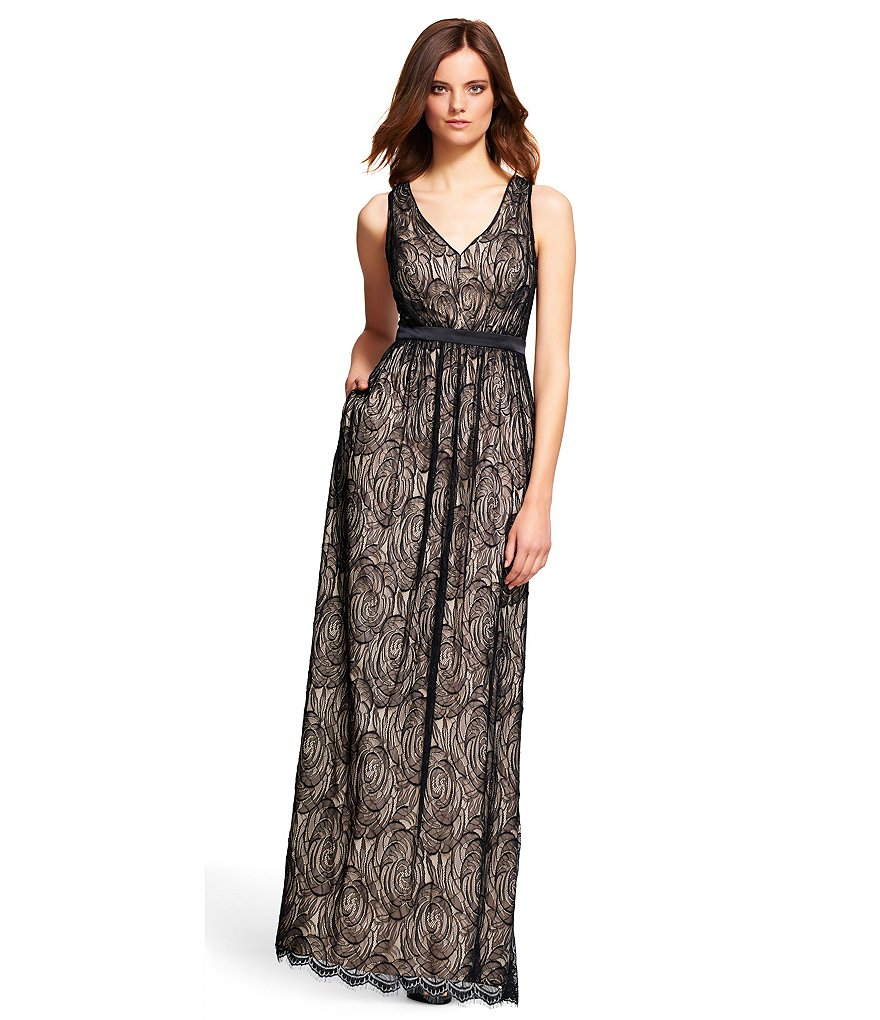 Adrianna Papell Illusion Lace Halter Dress