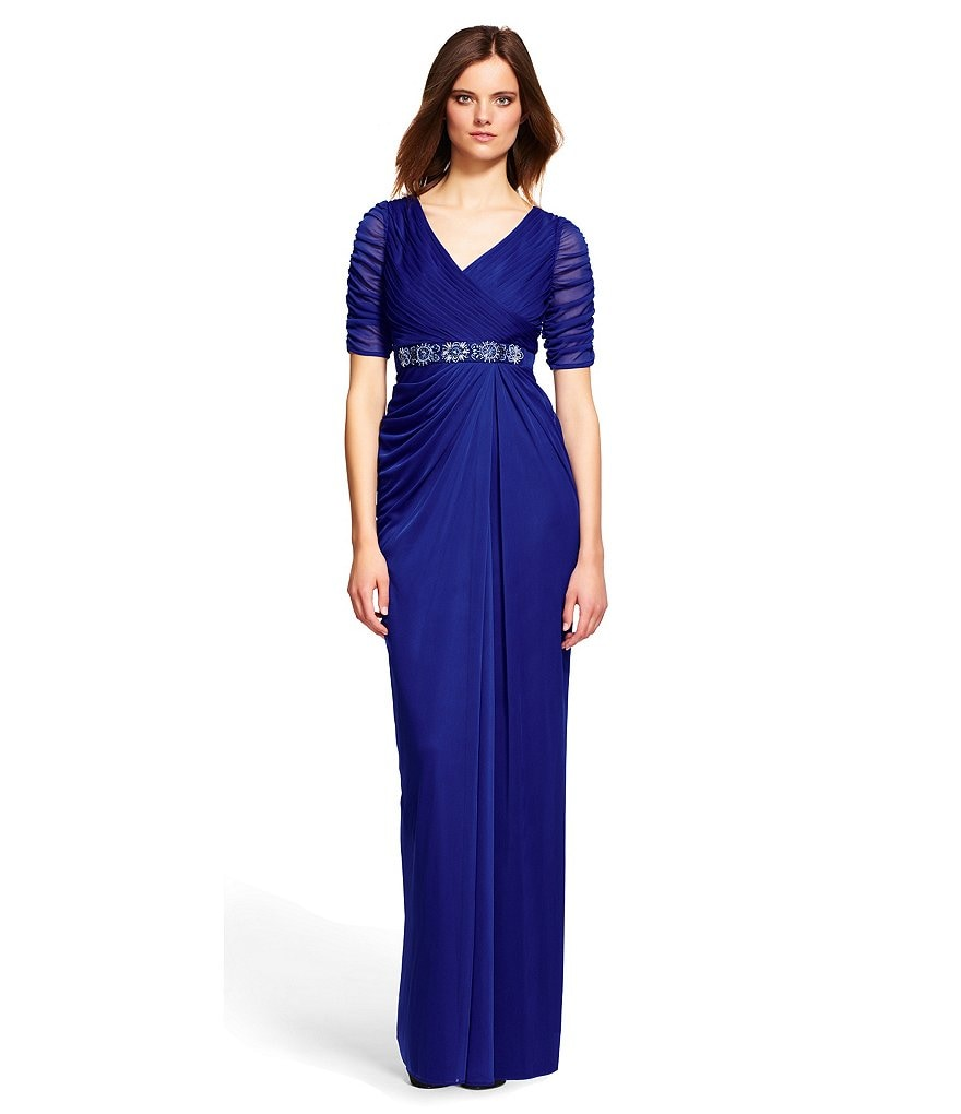 Adrianna Papell Belted Shirred Wrap Gown