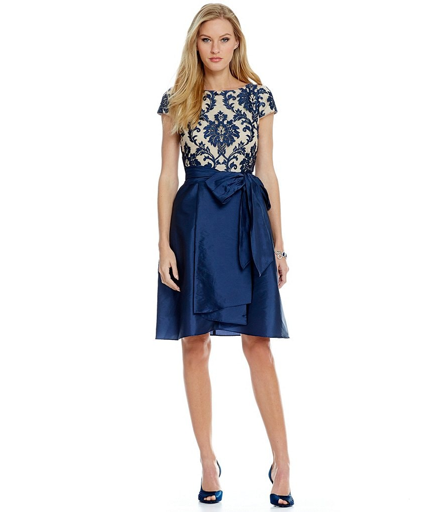 Adrianna Papell Belted Embroidered Lace Taffeta High-Low Party Dress