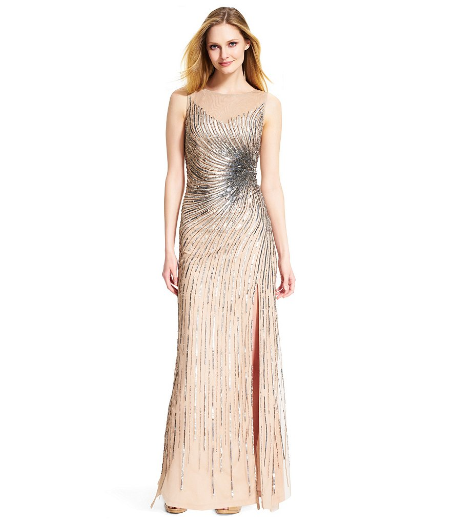 Adrianna Papell Side Slit Beaded Mermaid Gown