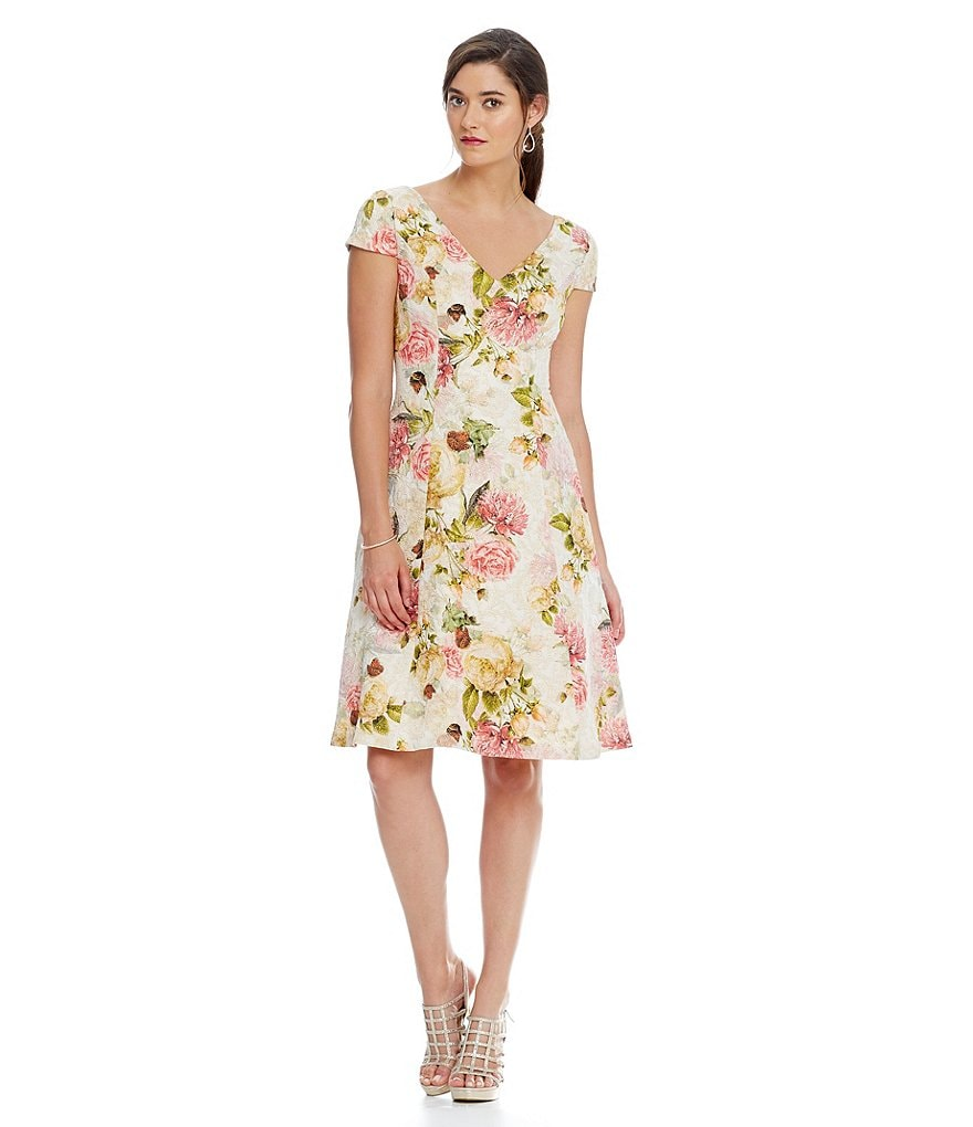 Adrianna Papell Floral Matelasse Fit-and-Flare Dress