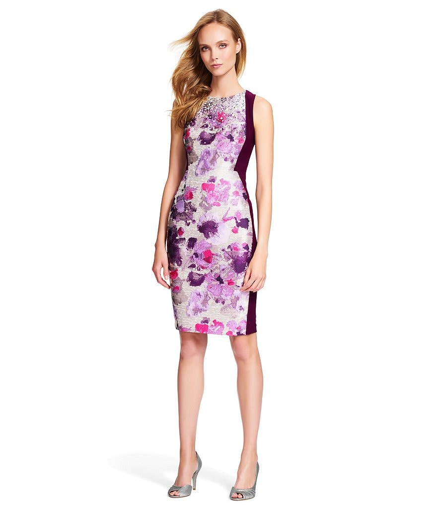 Adrianna Papell Jacquard Jersey Beaded Neck Sheath Dress