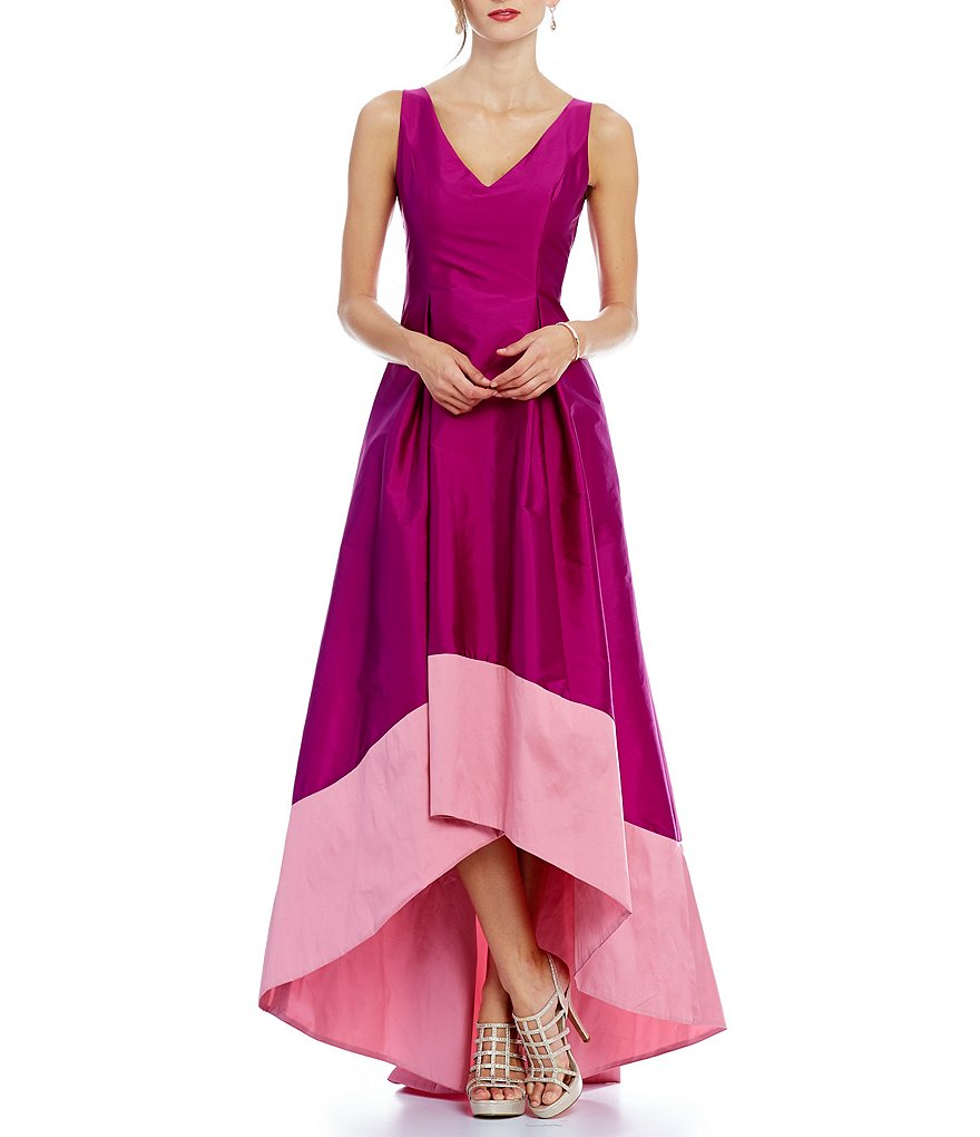 Adrianna Papell Two-Tone Hi-Low Sleeveless Taffeta Gown