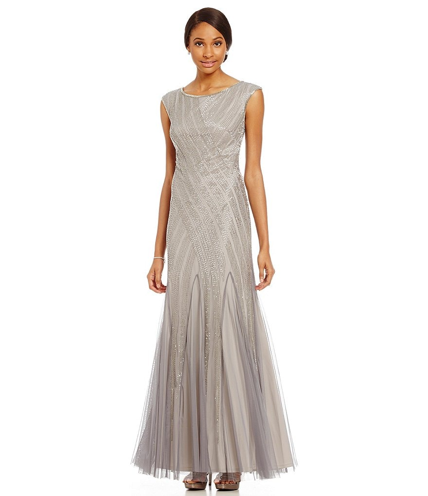 Adrianna Papell Beaded Godet Cap Sleeve Gown