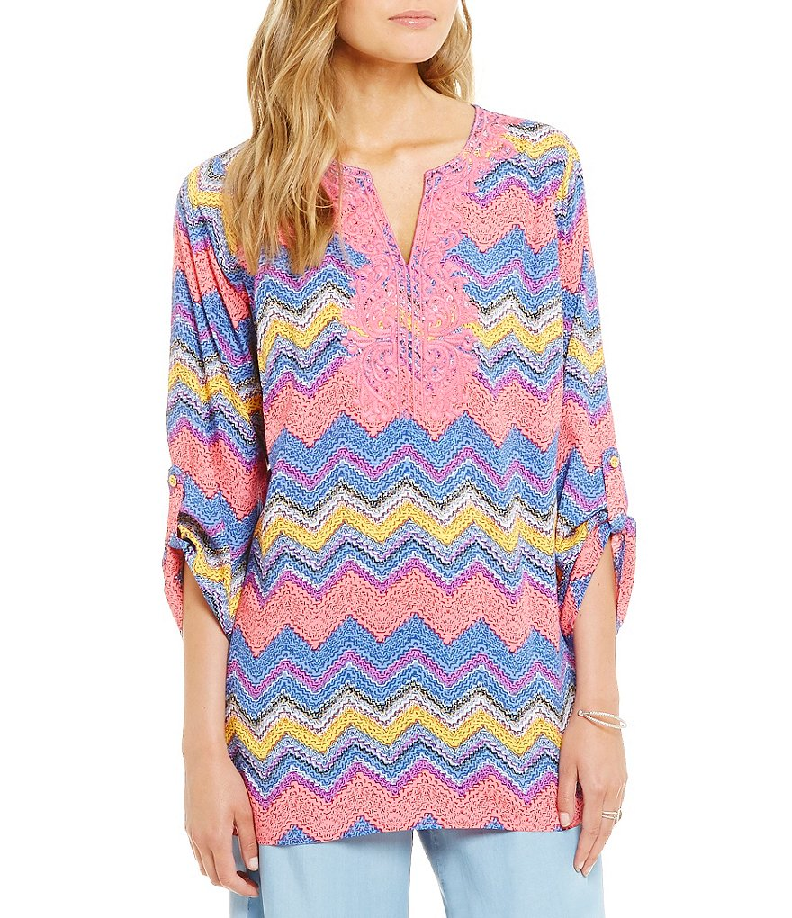 Calessa Chevron Striped Roll-Tab Sleeve Embroidered V-Neck Tunic