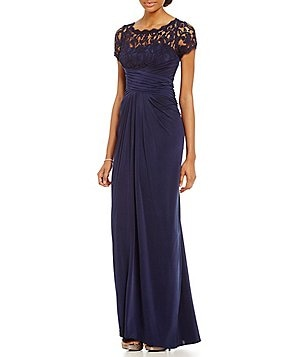 Adrianna Papell Short Sleeve Illusion Lace Gown