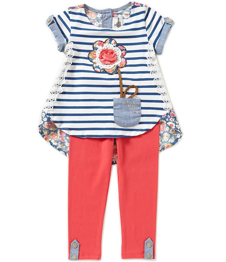 Rare Editions Baby Girls 12-24 Months Flowerpot Striped & Floral Top & Leggings Set