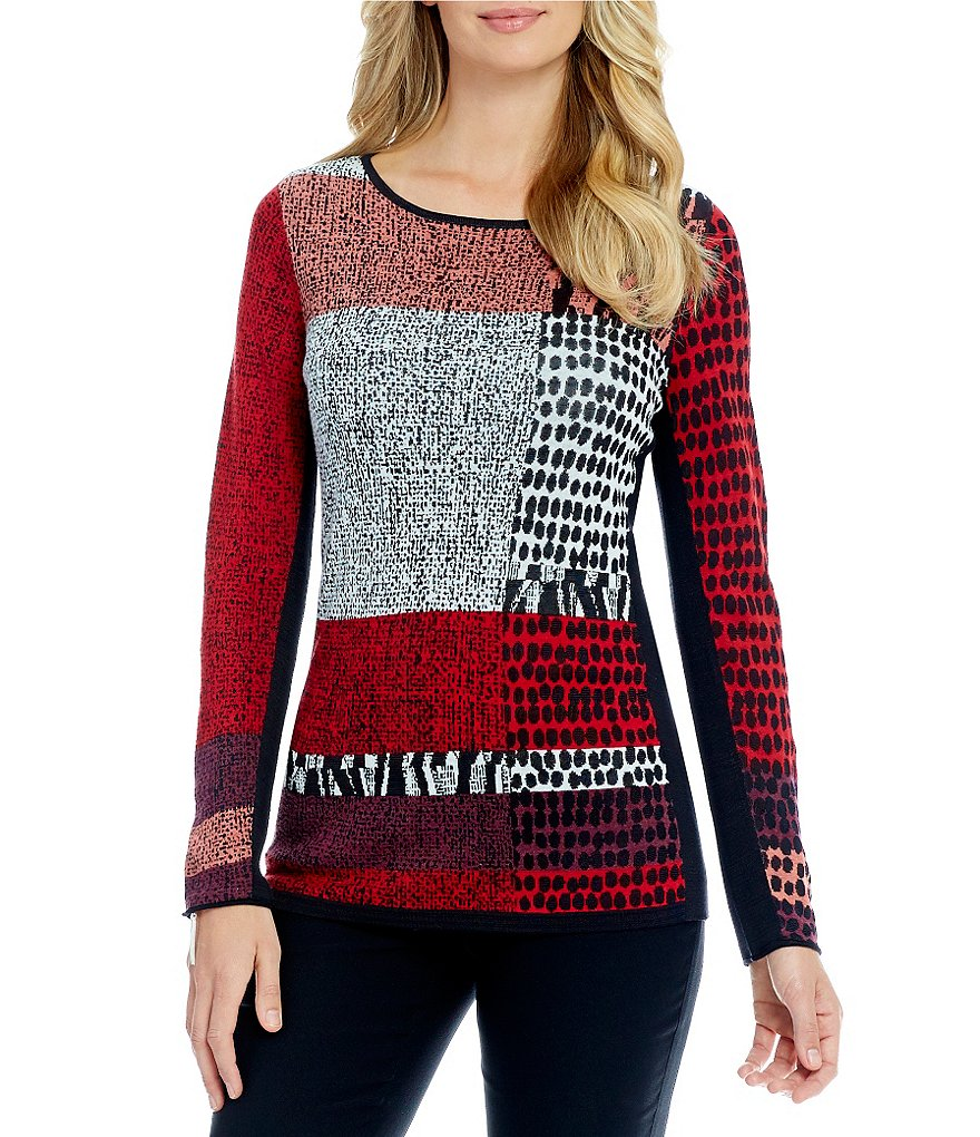 ZOZO Fiery Printed Long Sleeve Knit Top