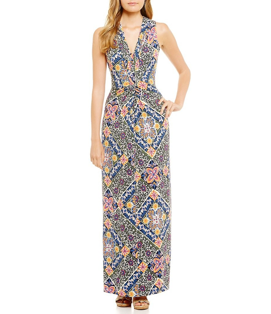 Tommy Bahama Mosaic Relief V-Neck Sleeveless Maxi Dress