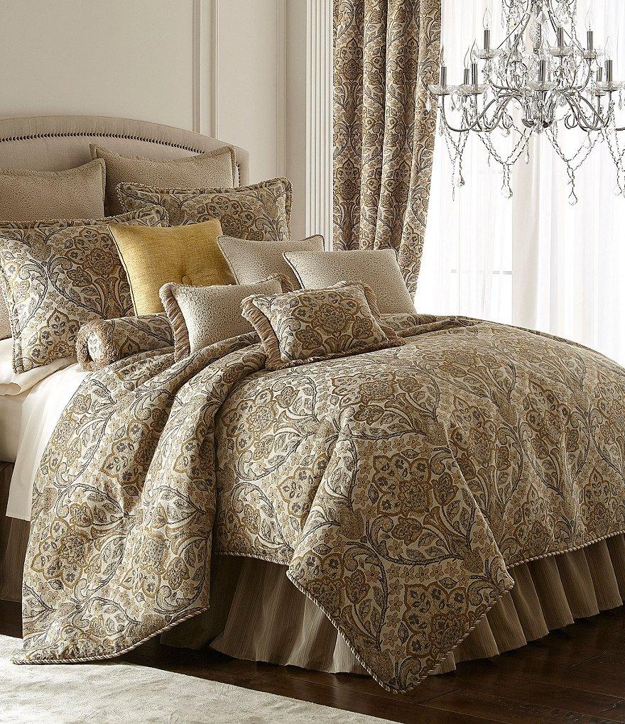 4 pc rose tree liege floral jacquard comforter set damask beige gold brown gray ebay. Black Bedroom Furniture Sets. Home Design Ideas