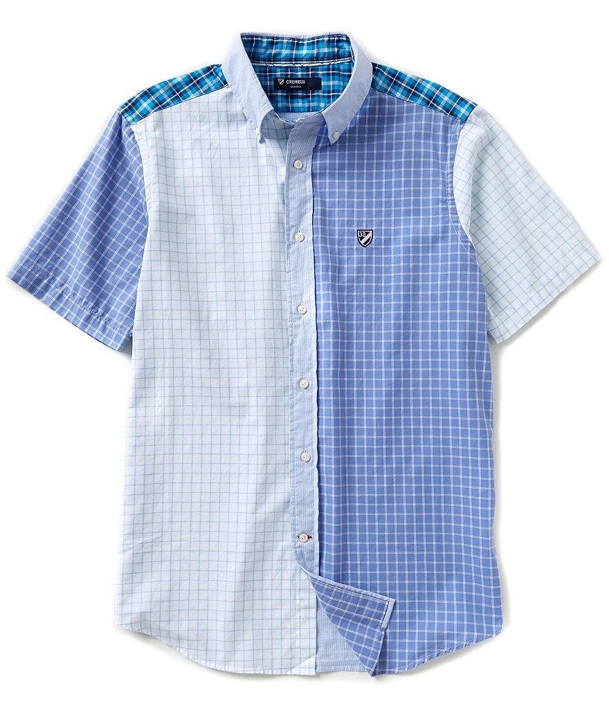 Cremieux Short-Sleeve Patchwork Oxford Woven Shirt