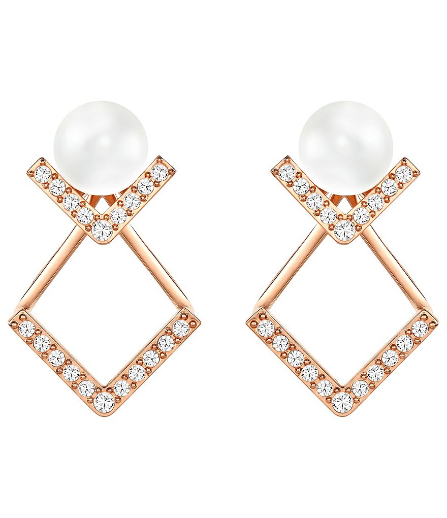 Swarovski Edify V-Shape Pearl Front/Back Earrings