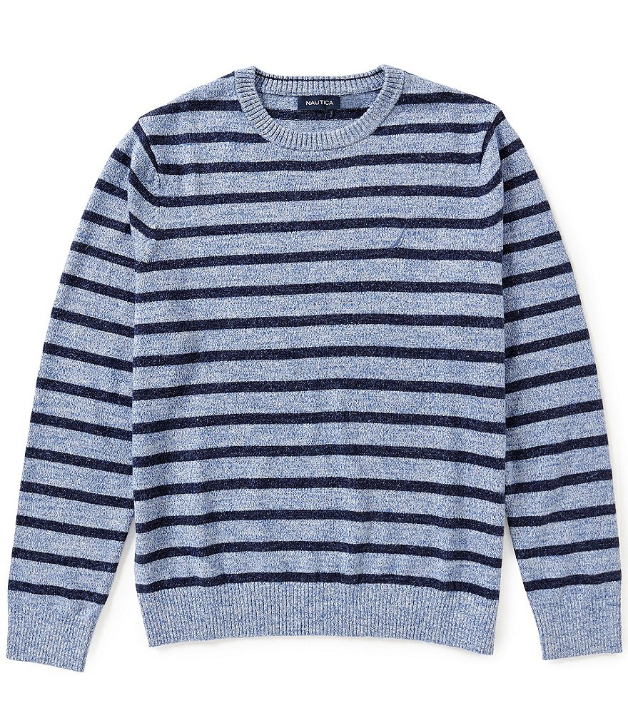 Nautica Snow Cotton Striped Crew Neck Sweater