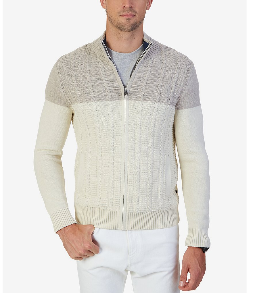 Nautica Zip-Front Cable-Knit Cardigan