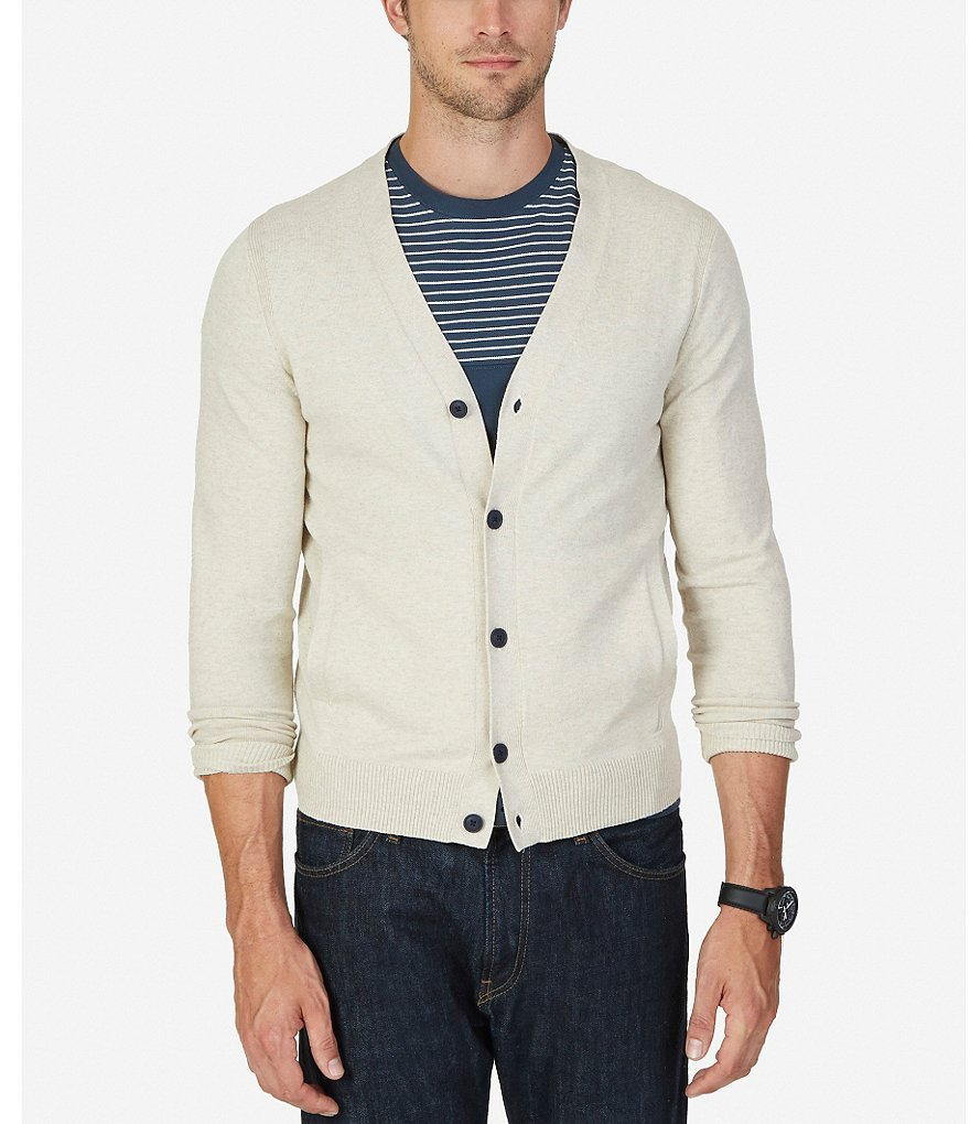 Nautica Heathered Knit Layering Cardigan Sweater