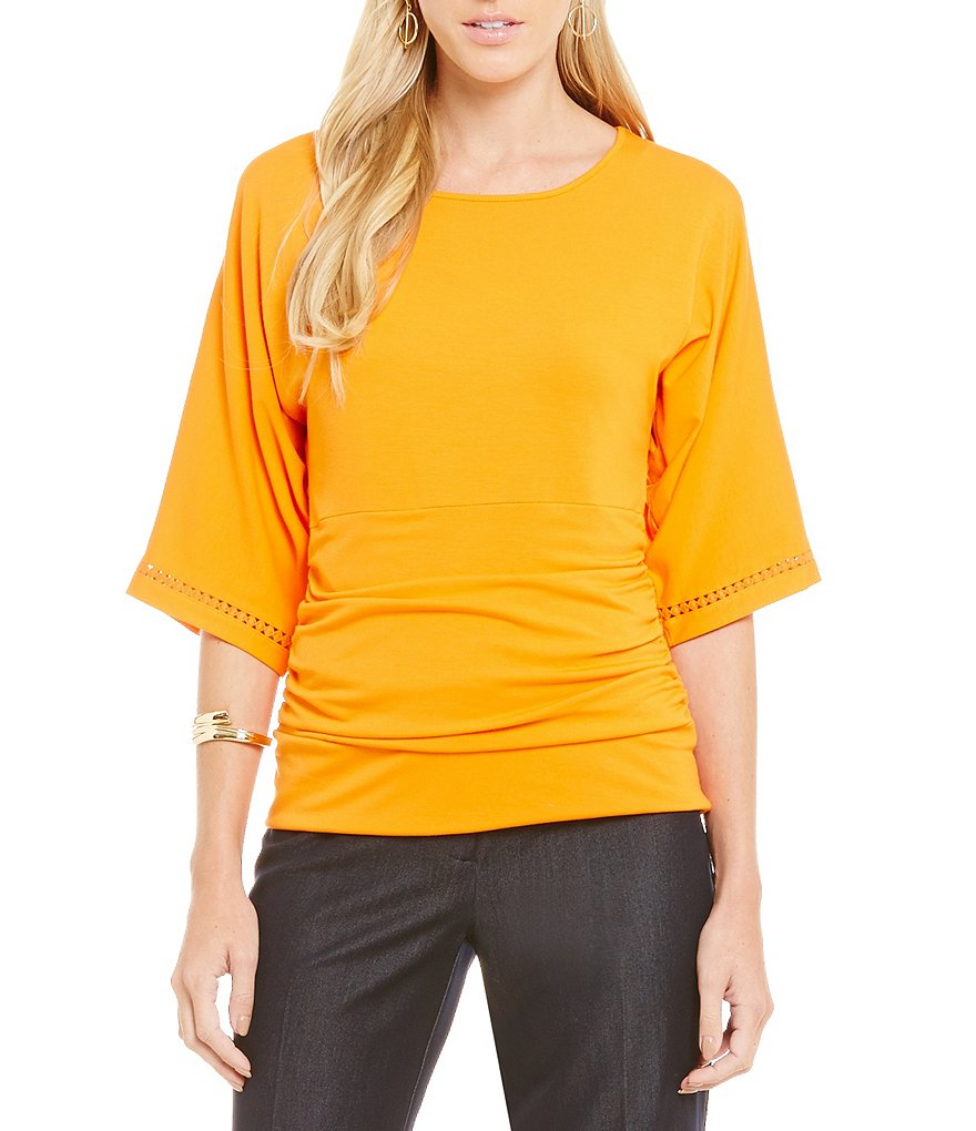 Peter Nygard Petite Crochet Trim Dolman Top