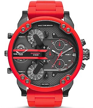 Diesel Mr Daddy 2.0 Silicone Strap Stainless Steel Multifunction Watch