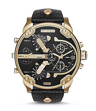 Diesel Mr Daddy 2.0 Leather Strap Stainless Steel Multifunction Watch