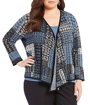 ZOZO Plus Checker Blocked V-Neck 3/4 Sleeve Four Way Cardigan