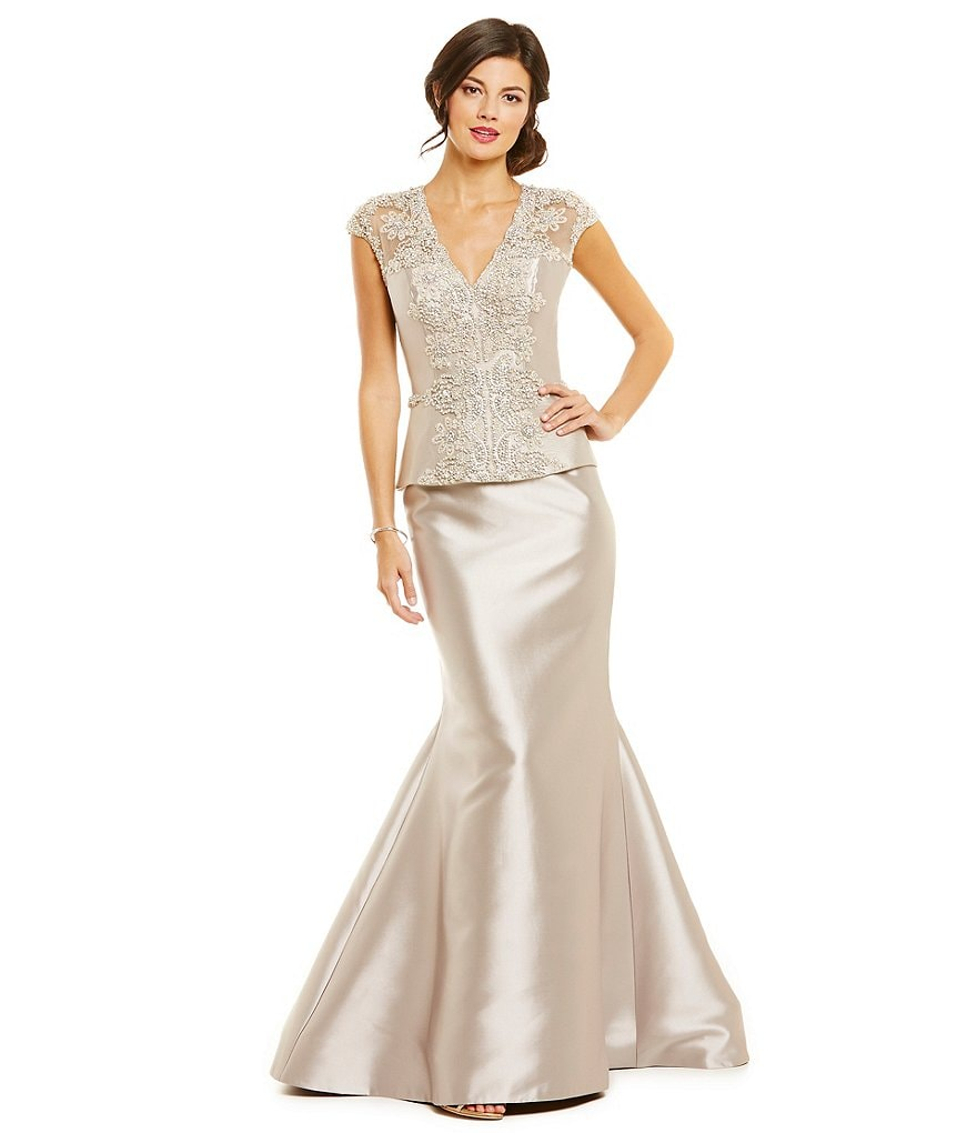 Lasting Moments Beaded Bodice Peplum Mermaid Gown