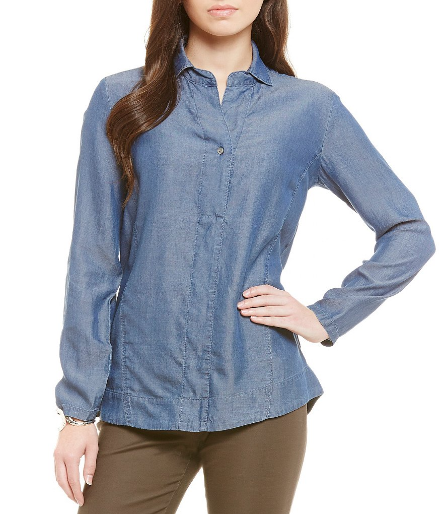 ZOZO Collared Drapy Denim Top