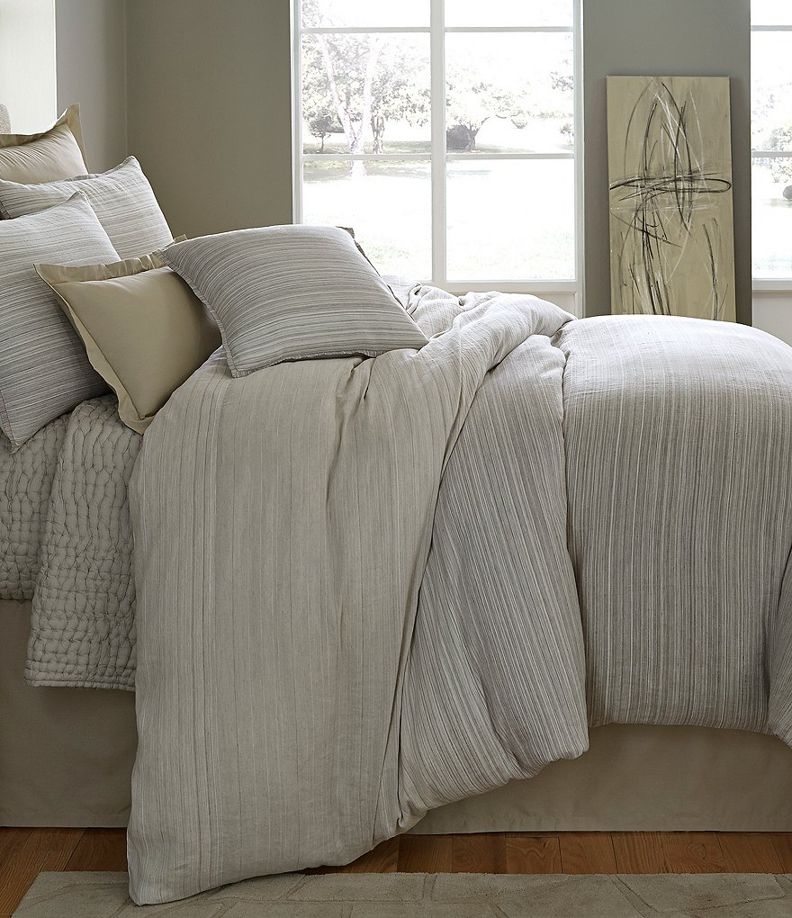 Moderne by Noble Excellence Hayden Striped Cotton & Linen Duvet Mini Set