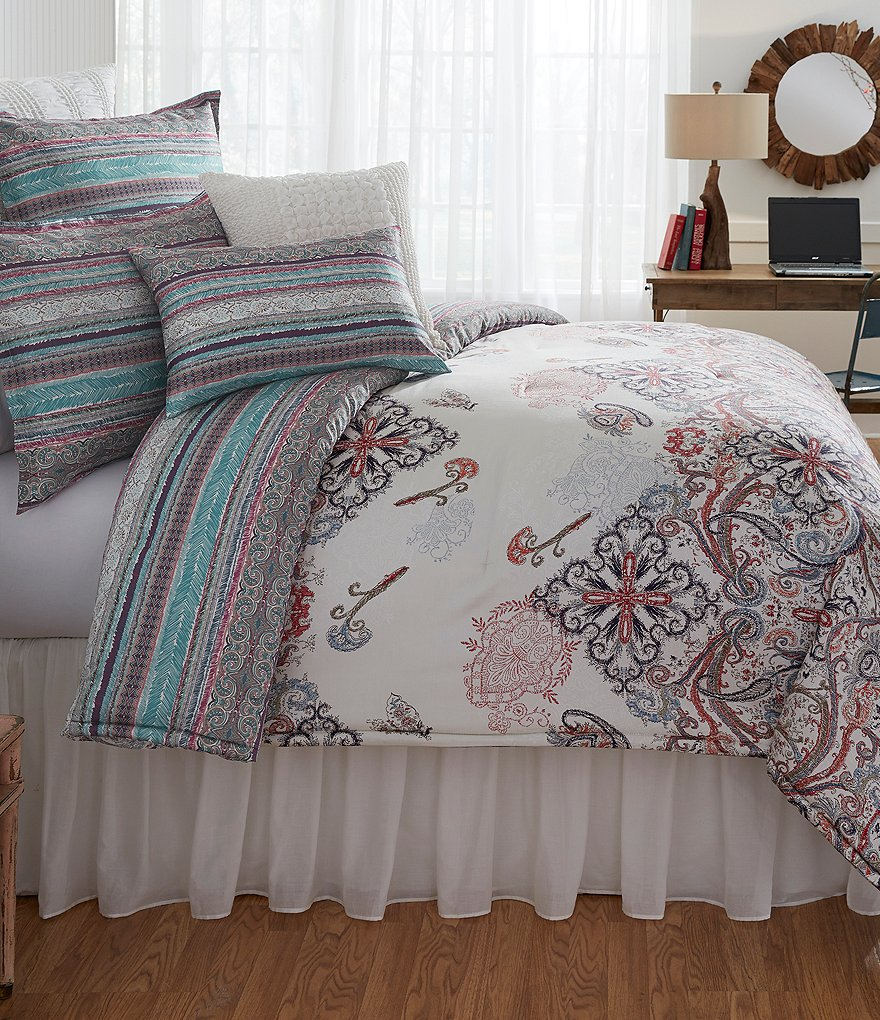 Studio D Utopia Floral Scroll & Striped Sateen Comforter Mini Set