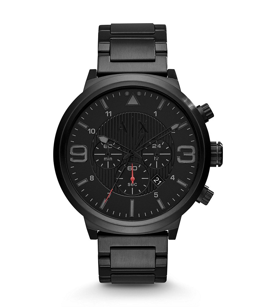 AX Armani Exchange Men´s Street Chronograph Black IP Stainless Steel Bracelet Watch