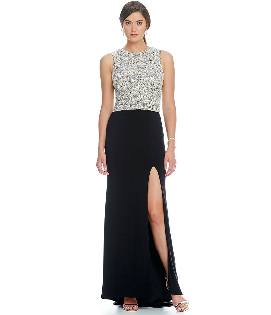 Lasting Moments Beaded Bodice Jersey Slit Gown