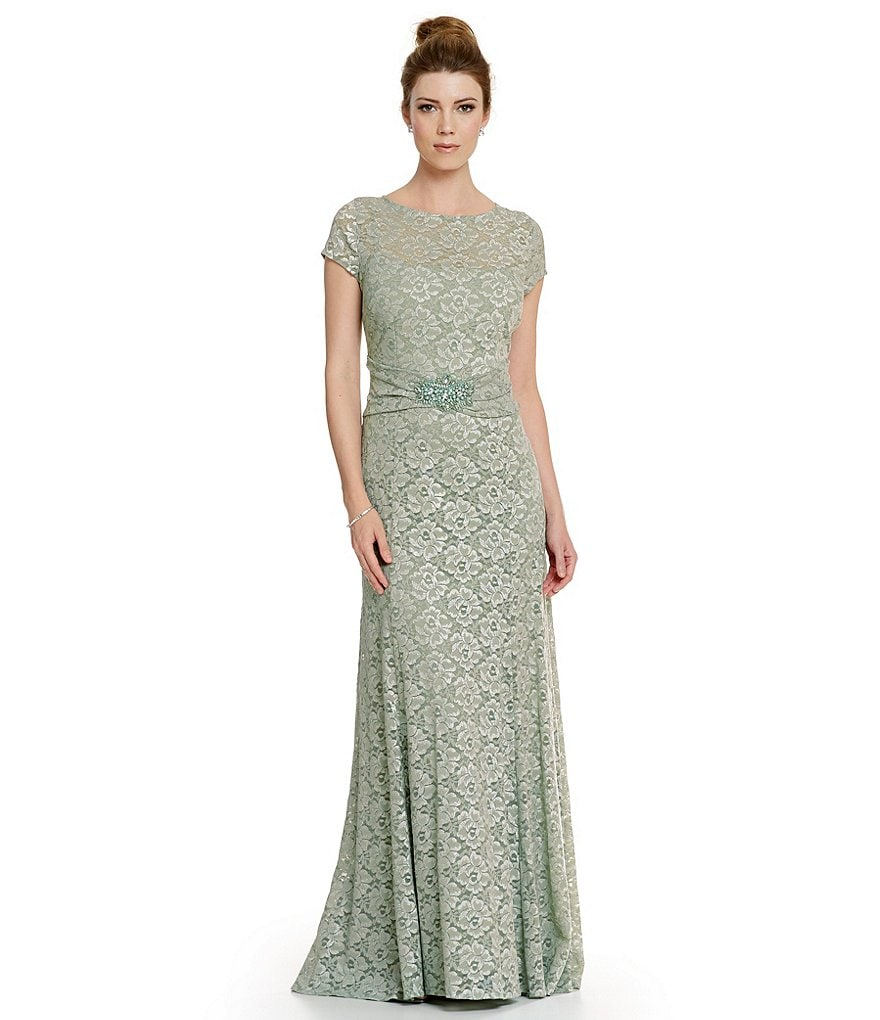 Emma Street Short Sleeve Lace Gown
