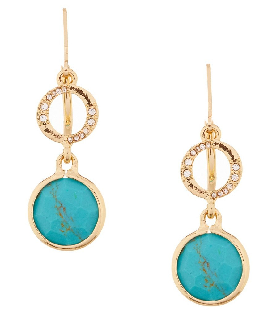 Anne Klein Turquoise and Crystal Double Drop Earrings