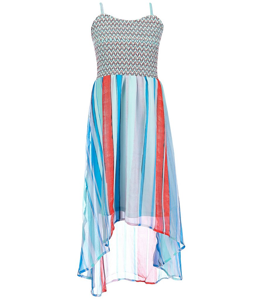 Jessica Simpson Big Girls 7-16 Sierra Chevron/Painted-Stripe Crinkle Chiffon Dress