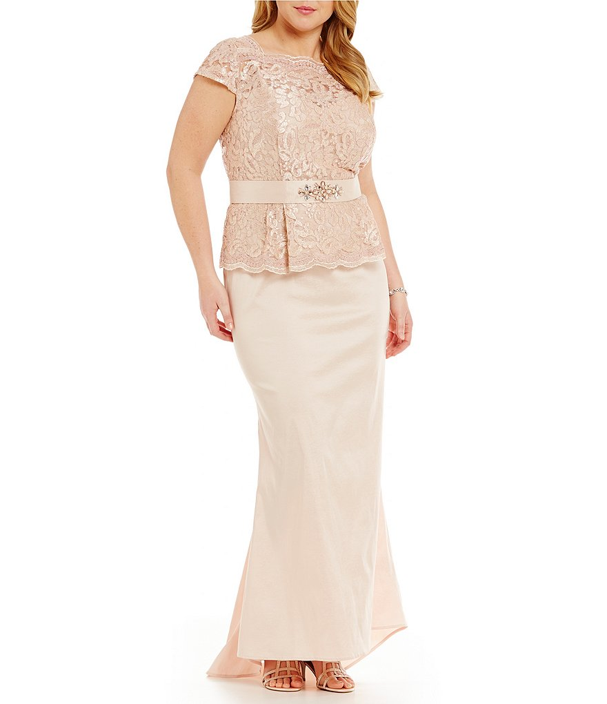 Ignite Evenings Plus Beaded Waist Peplum Gown