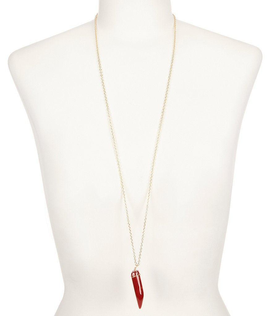Anna & Ava Long Horn Pendant Necklace