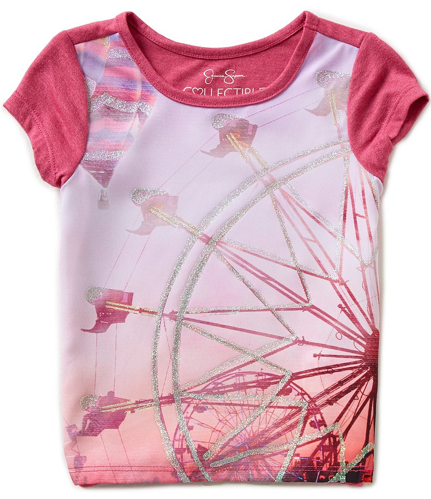 Jessica Simpson Little Girls 2T-6X Marie Ferris Wheel Graphic Color Block Top