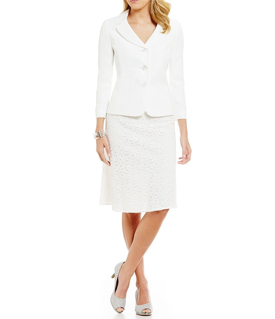 Kasper Three-Button Lace Jacket and Skirt
