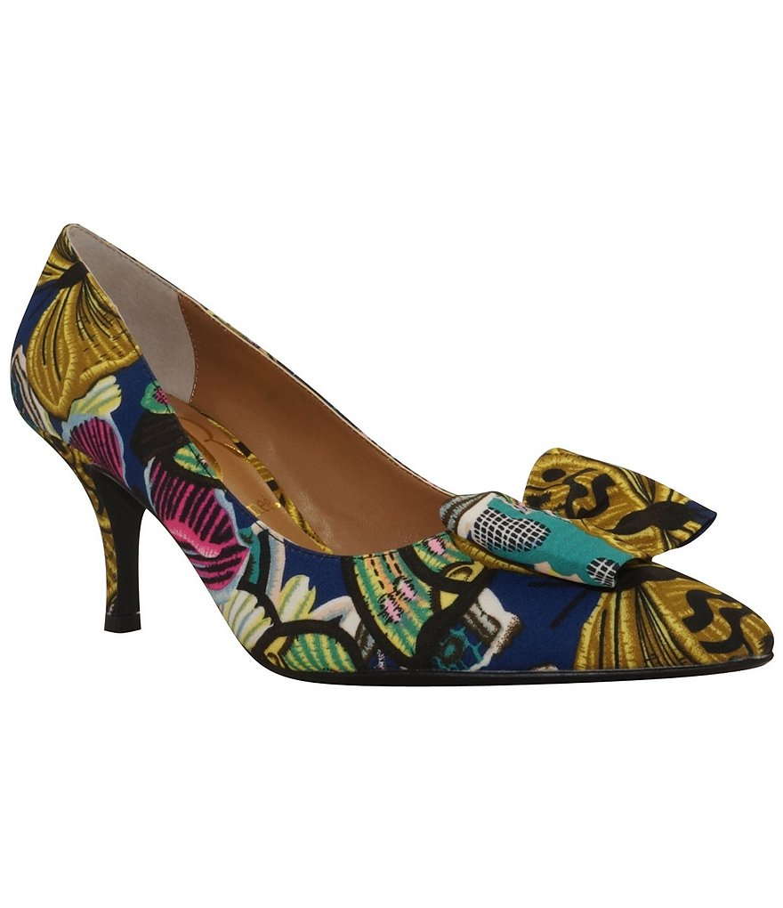 J. Renee Camley Patterned Bow Pointed-Toe Pumps