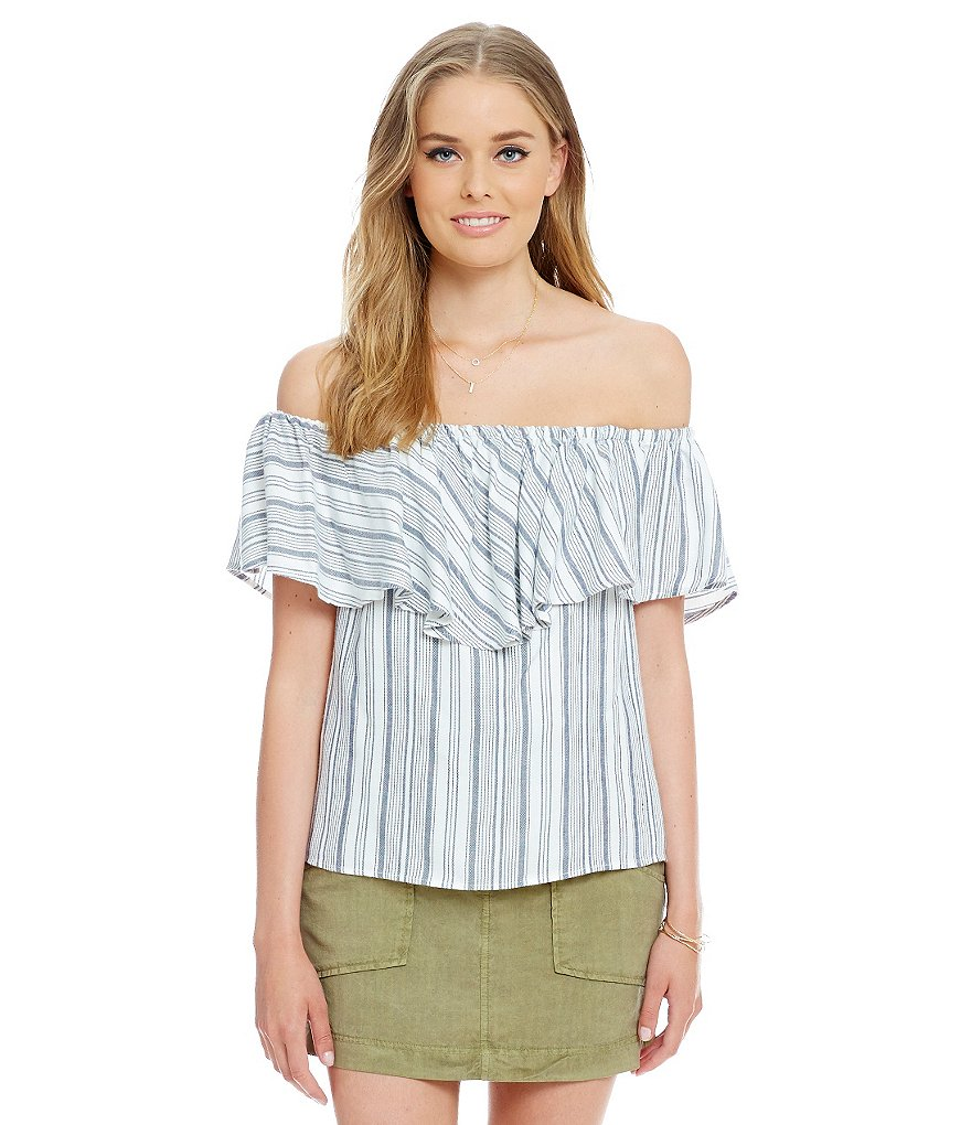 WAYF Striped Off-the-Shoulder Top
