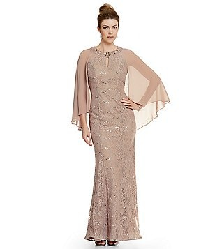 Ignite Evenings Sequin Lace Cape Dress