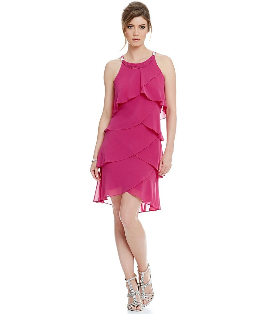 S.L. Fashions Chiffon Tulip Tier Sheath Dress
