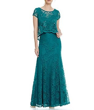 Ignite Evenings Lace Popover Mermaid Gown