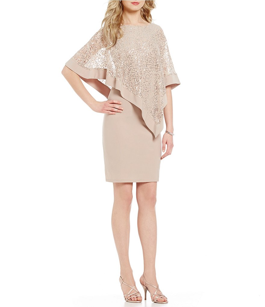 R & M Richards Sequin Lace Asymmetrical Cape Dress
