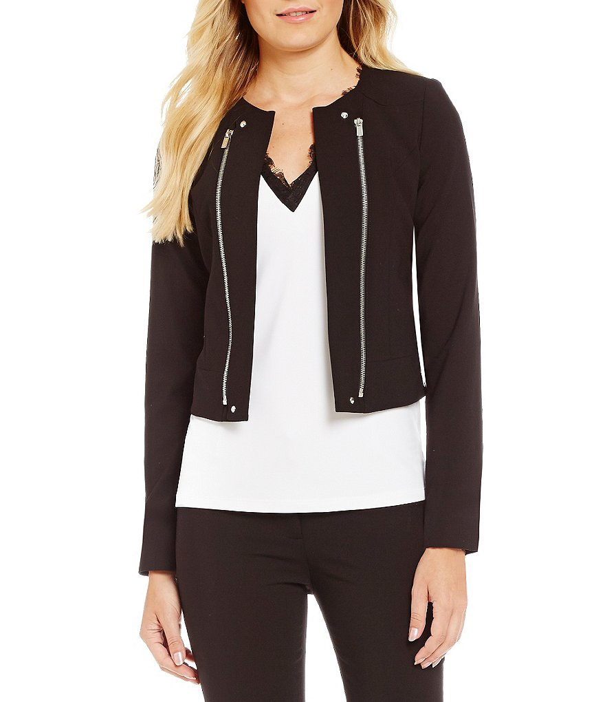 Calvin Klein Petites Luxe Stretch Zipper Trim Moto Jacket