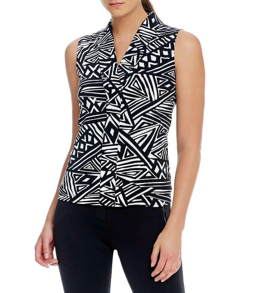Calvin Klein Petites Abstract Tribal Print V-Neck Top